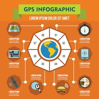 Infographikschablone der gps-navigation, flacher stil