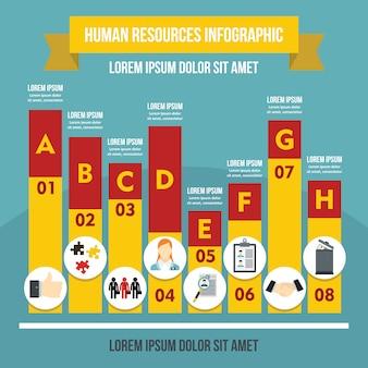 Infographikschablone der menschlichen ressourcen, flacher stil