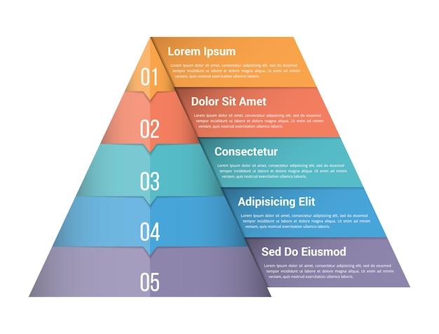 Infographikschablone der pyramide mit fünf elementen