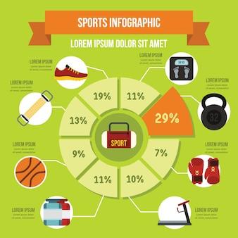Infographikschablone der sportausrüstung, flacher stil