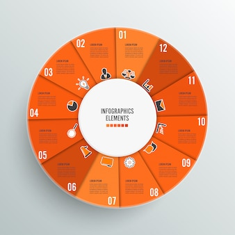 Infographikschablone des Kreisdiagramms mit 12 Wahlen.
