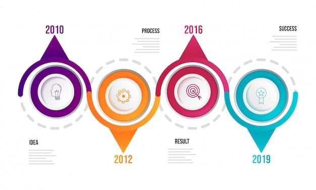 Infographikvorlage des jahres-zeitachse mit vier stufen für unternehmen