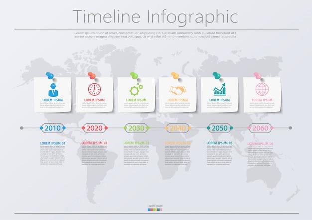 Infographikvorlage des präsentationsgeschäfts mit 6 optionen.