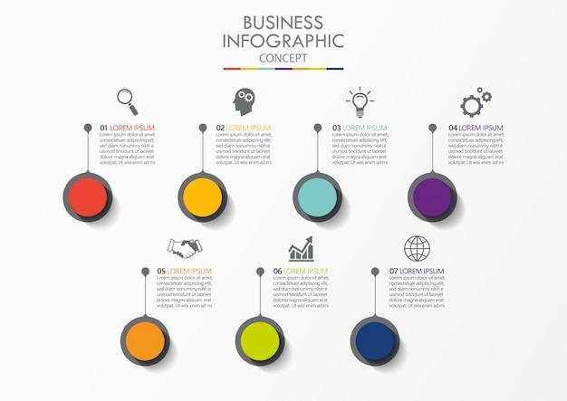 Infographikvorlage des präsentationsgeschäfts mit 7 optionen.