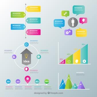 Inforgraphic elemente sammlung mit vielen farben