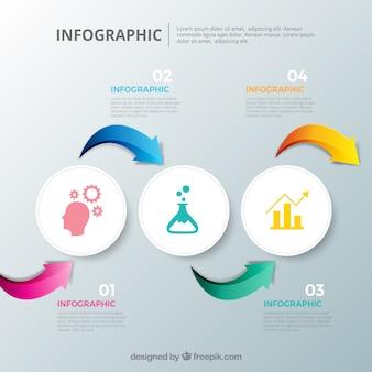 Inforgraphic schritte sammlung mit vielen farben