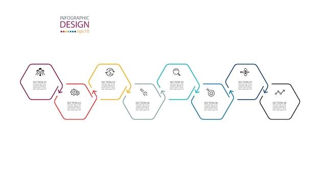 Inforgraphics des hexagons auf grafischer kunst.