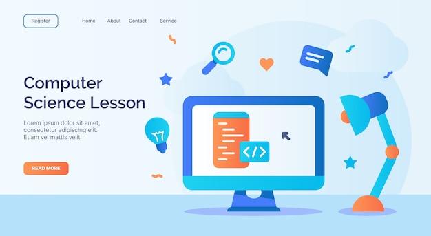 Informatikunterricht oder programmierklasse-videokurs für web-homepage homepage landing template banner mit cartoon flat style