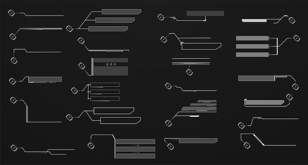 Informationen touch-callout-header-elemente hud. futuristische benutzeroberflächen-panels, anrufkommunikationsmenü.