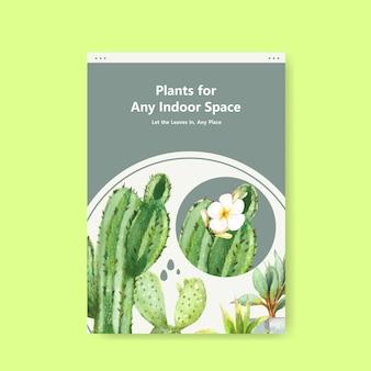 Informationen über sommerpflanzen- und zimmerpflanzenschablonendesign für flugblatt, broschürenaquarellillustration