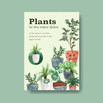 Informationen über sommerpflanzen- und zimmerpflanzenschablonendesign für werbung, broschürenaquarellillustration