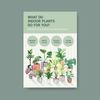 Informationen über sommerpflanzen- und zimmerpflanzenschablonendesign für werbung, faltblatt, broschürenaquarellillustration