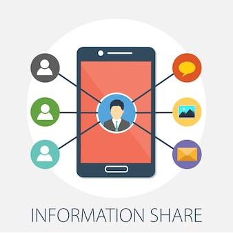 Informationsaustausch und personennetzwerkkonzept