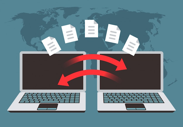 Informationsaustausch zwischen computern. dateiübertragung, datenverwaltung und sicherungsdateien vector konzept