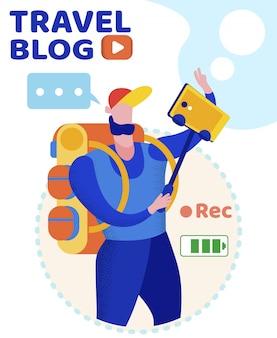 Informationsbanner reiseblog-beschriftung. Premium Vektoren