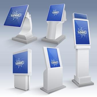 Informationsdisplays für interaktive kioske. touchscreen steht für vorlagen. monitor-konsole für touchscreen-ständer