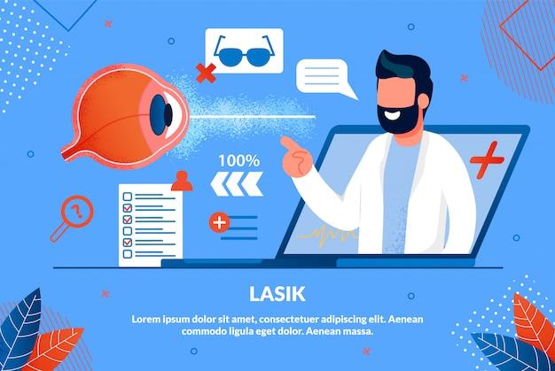 Informationsflyer-aufschrift lasik-karikatur.