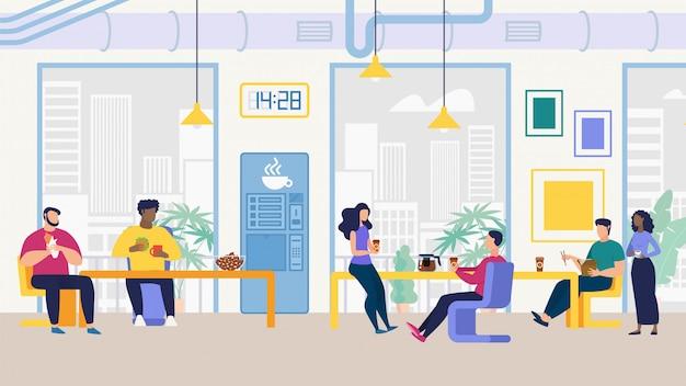 Informationsflyer büromitarbeiter lunch room flat.