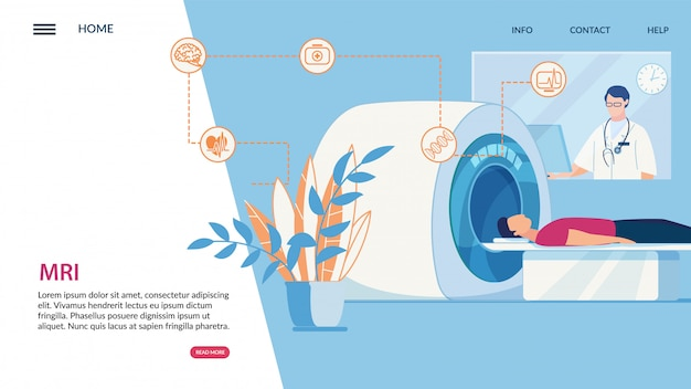 Informationsflyer inschrift mri, cartoon