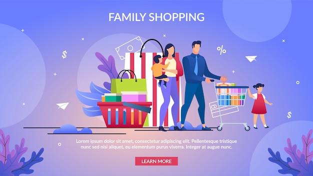 Informationsplakat geschriebene familie einkaufen.