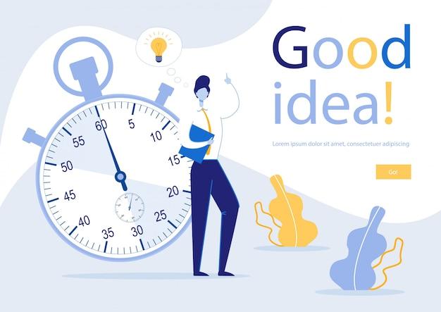 Informationsplakat inschrift gute idee ,. methoden und fähigkeiten steigern die produktivität der mitarbeiter. guy in suit kommt schnell mit kreativen ideen gegen hintergrund große stoppuhr.