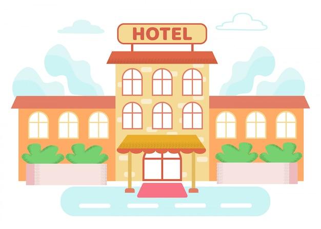 Informationsplakat über gebäude ist geschriebenes hotel