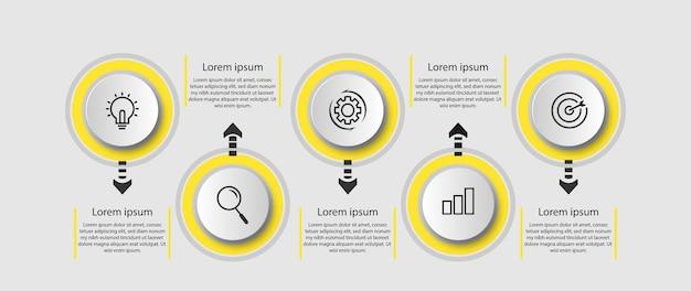 Informationsschritte timeline kreisförmige infografik.