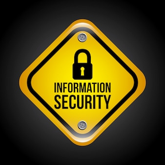 Informationssicherheit auf schwarzem hintergrund