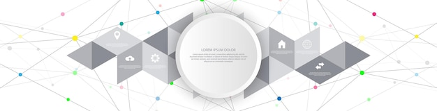 Informationstechnologie mit infografik-elementen und flachen symbolen. abstrakter hintergrund mit verbindungspunkten und linien. globale netzwerkverbindung, digitale technologie und kommunikationskonzept.