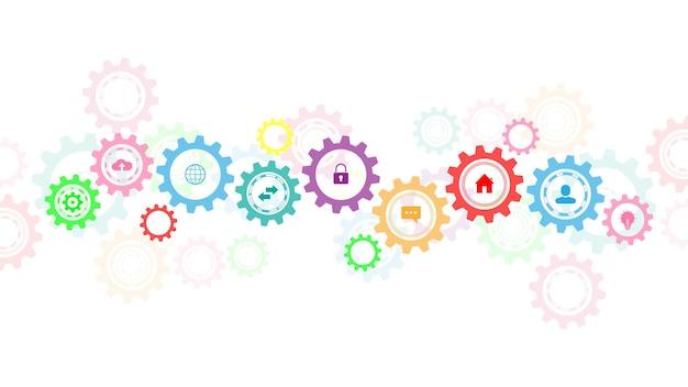 Informationstechnologie mit infografik-elementen und flachen symbolen. zahnräder und zahnradmechanismen. hightech-digitaltechnologie und -technik. abstrakter technischer hintergrund.