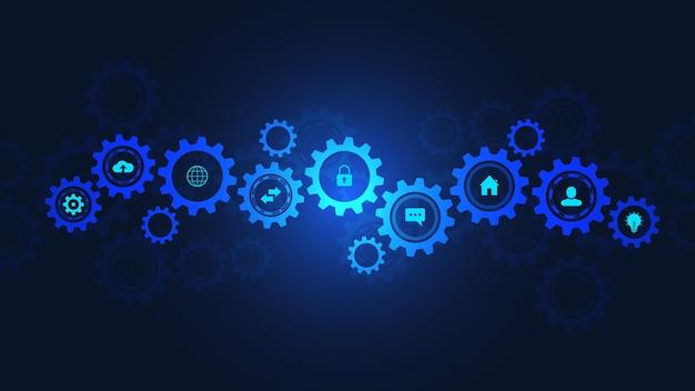 Informationstechnologie mit infografikelementen und flachen symbolen. zahnräder und zahnradmechanismen. hightech-digitaltechnologie und -technik. abstrakter technischer hintergrund.