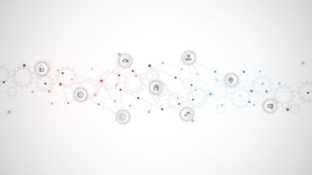 Informationstechnologie mit infografikelementen und flachen symbolen.