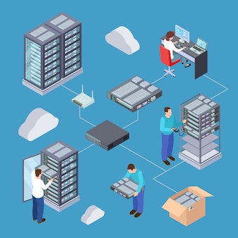 Informationstechnologie-serveringenieur 3d-vektorkonzept.