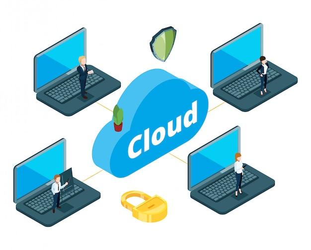 Informationsübertragungskonzept. isometrischer cloud-speicher. das geschäftsteam nutzte das lokale netzwerk für die arbeit
