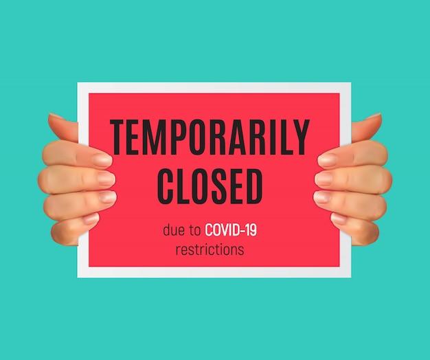 Informationswarnung vorübergehend geschlossen zeichen von coronavirus-nachrichten.