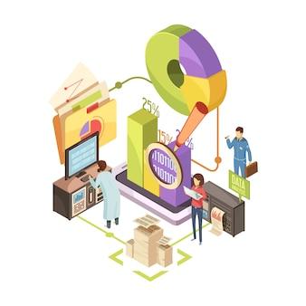 Informationszentrum isometrische illustration