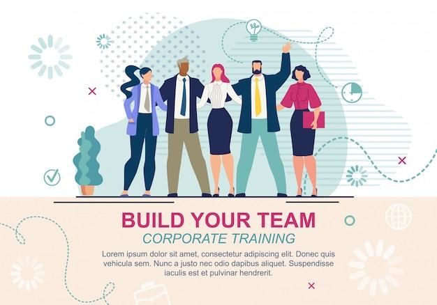 Informative banner es geschrieben bauen sie ihr team.