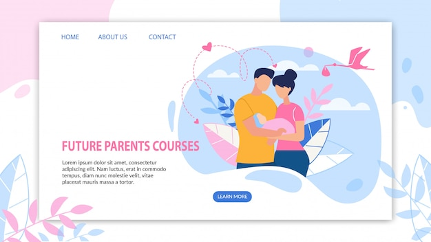 Informative banner future parents courses flat.