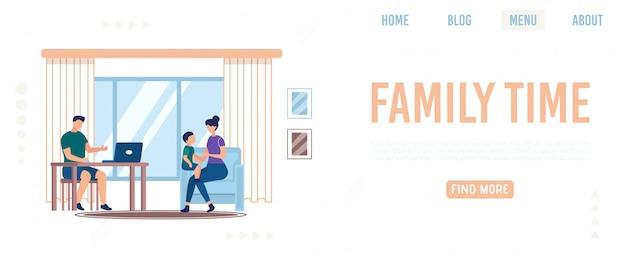Informative banner inschrift family time, flat.
