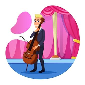 Informative flyer cello solo performance. vielfältiges und komplexes repertoire aufführen. mann im anzug führt klassisches stück auf der bühne mit cello-cartoon auf. illustration.