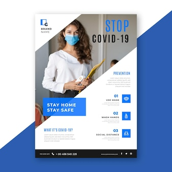 Informativer coronavirus-flyer mit foto