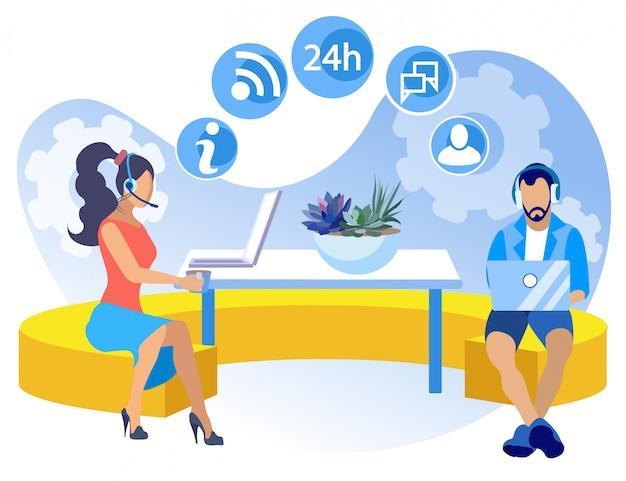 Informativer flyer coworking-kundenkontaktcenter-karikatur.