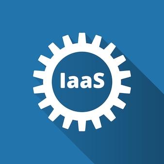 Infrastruktur als dienstleistung. iaas-technologiesymbol, logo. paketierte software, dezentrale anwendung, cloud-computing. zahnräder. bewerbungsservice. vektor-illustration.