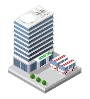 Infrastruktur krankenwagen und moderne hauskonzeptikone