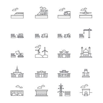 Infrastruktur-symbole in linienart