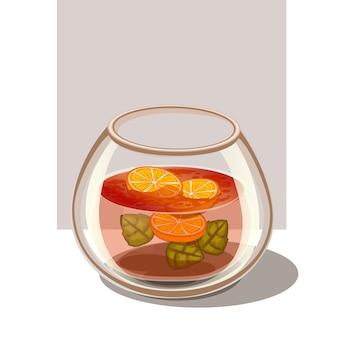 Infusion wasser zitronenminze illustration