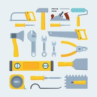 Ingenieur bauwerkzeuge und instrumente flache illustration gesetzt. mechanisches ausrüstungssortiment.