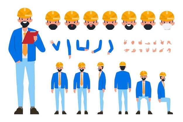 Ingenieur charaktererstellung für animationen bereit für animierte gesichtsgefühle und mund