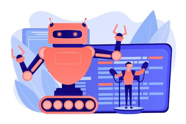 Ingenieur, der großen roboter mit ferntechnologie steuert. ferngesteuerte roboter, robotersteuerungssystem, manipulationsrobotersystemkonzept