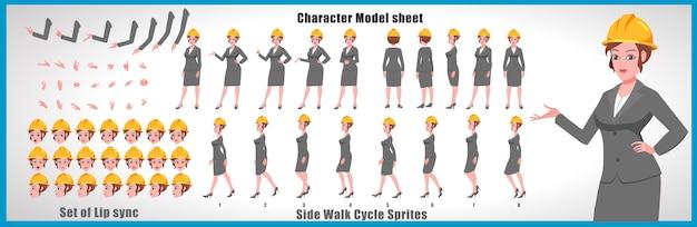 Ingenieur-mädchen charaktermodellblatt mit wegzyklusanimationen und lippensynchronisation